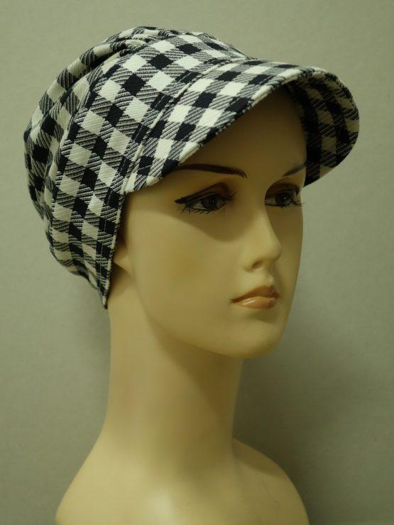 Czarno-biała krata modna czapka z daszkiem