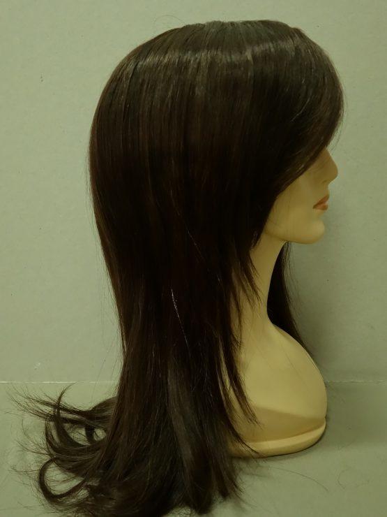 Długa naturalna peruka w kolorze czekoladowym