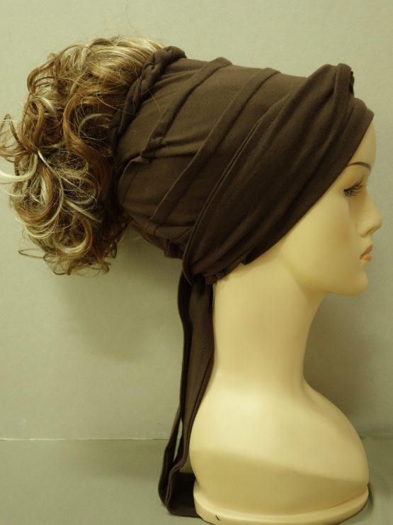 Włosy na opasce - kręcone koniak z pasemkami