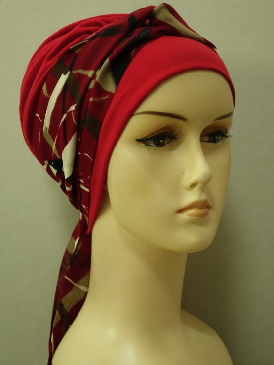 Czerwona chusta modny wzór z wzorzystą dekoracją