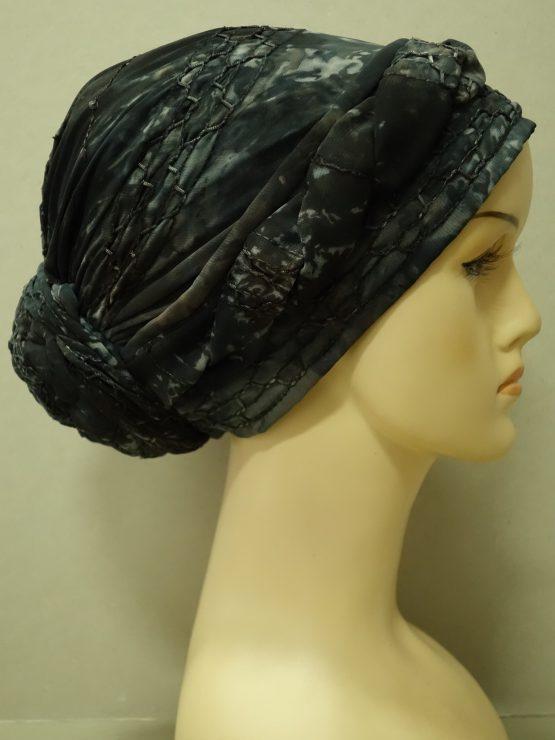 Grafitowy turban z żorżety