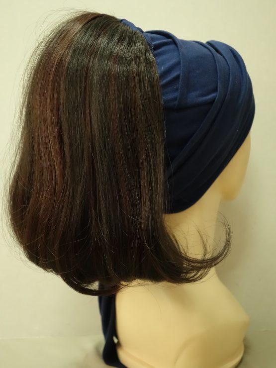 Włosy na opasce - półdługie ciemny brąz z refleksami