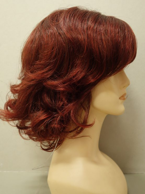 Półdługa peruka ruda lekko kręcona