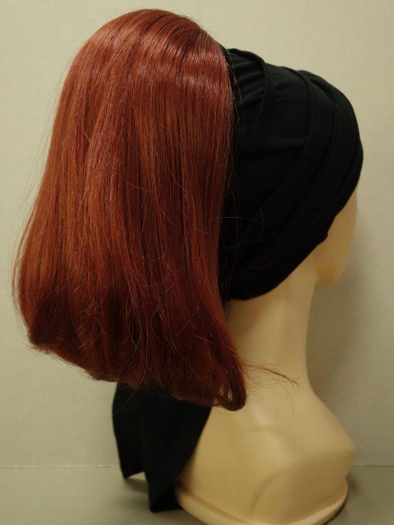 Włosy na opasce - półdługie rude na czarnej opasce