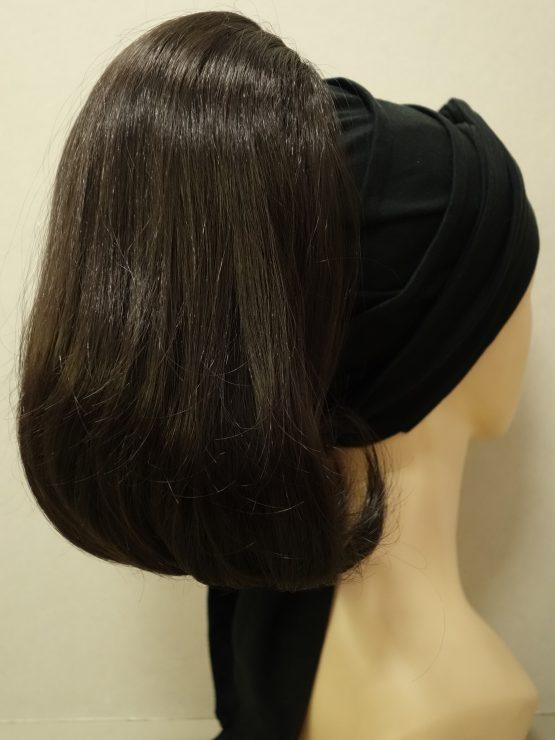 Włosy na opasce - półdługie ciemny brąz na czarnej opasce