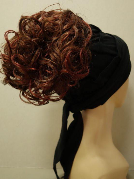 Włosy na opasce - krótkie kręcone brąz z rudymi refleksami na czarnej opasce