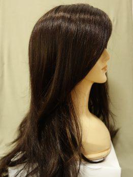 Długa peruka ciemny brąz