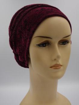 Bordowy turban