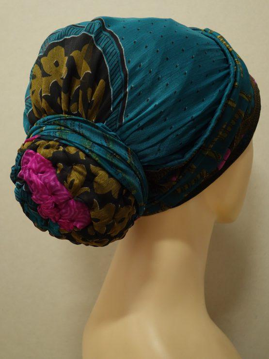 Szmaragdowy turban w indyjskie wzory