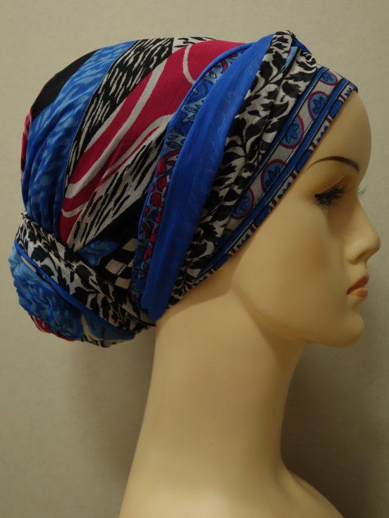 Niebieski turban w indyjskie wzory