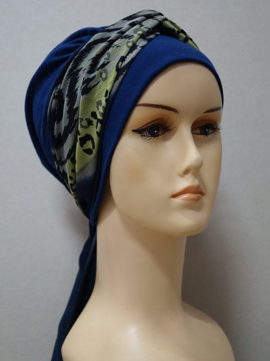 Granatowa chusta modny wzór z dekoracją