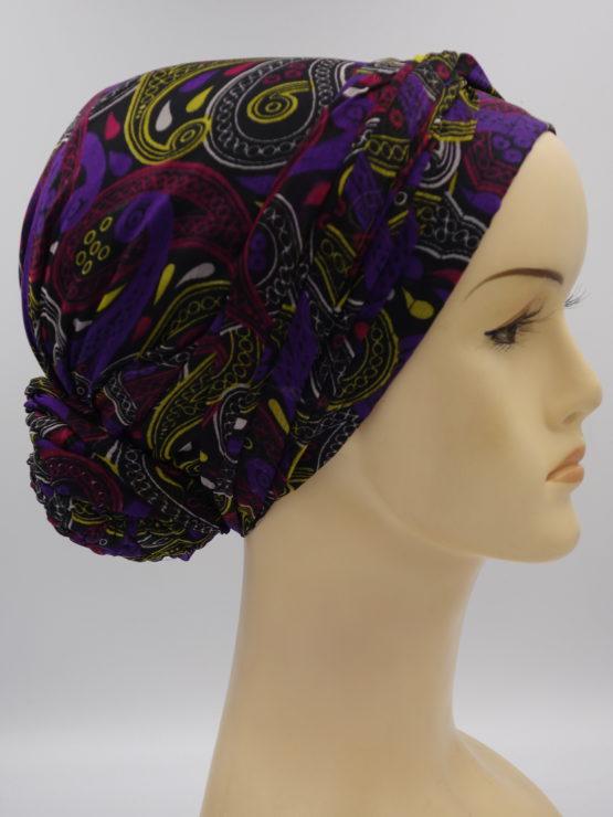 Fioletowy turban w geometryczne wzory