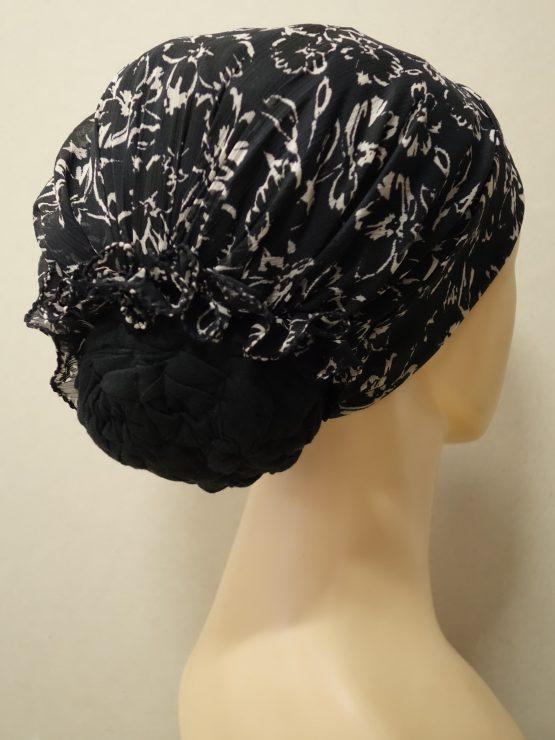 Czarny turban w kwiaty ecru