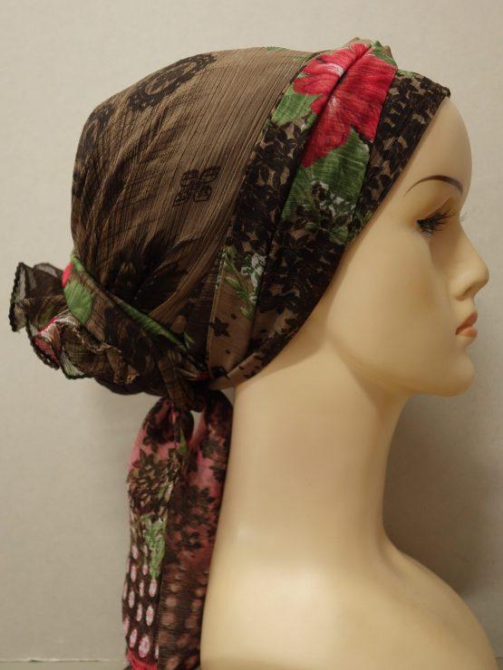 Czekoladowy turban w kwiaty