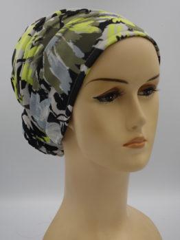 Kolorowy turban w popielato-żółte kwiaty