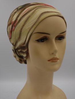 Beżowy turban z cekinami