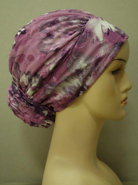 Wrzosowy drapowany turban w kwiaty