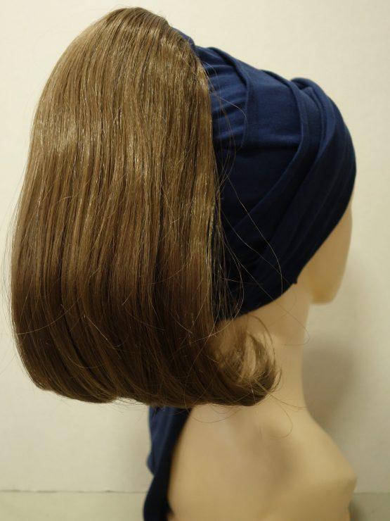 Włosy na opasce - półdługie proste rude na granatowej opasce