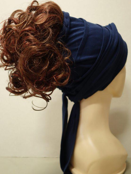 Włosy krótkie kręcone rude na opasce w kolorze granatowym