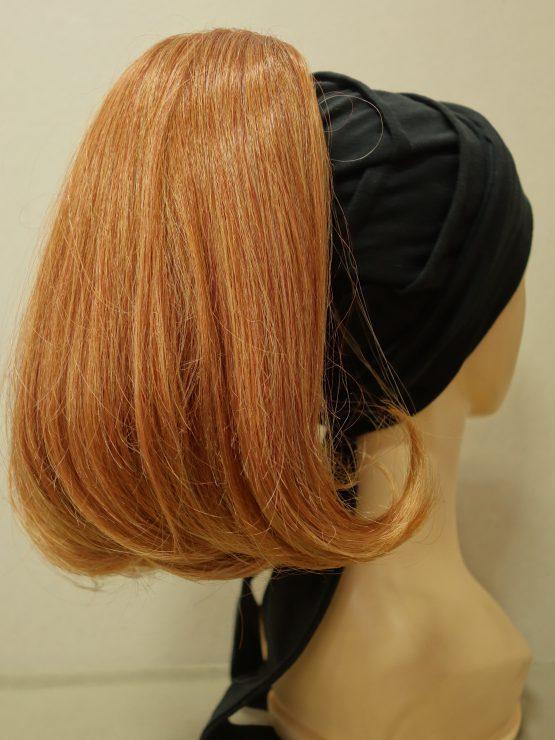 Włosy półdługie rude na opasce w kolorze czarnym