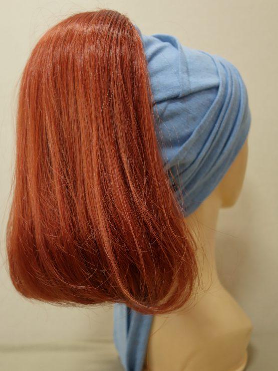 Włosy długie rude na opasce w kolorze niebieskim