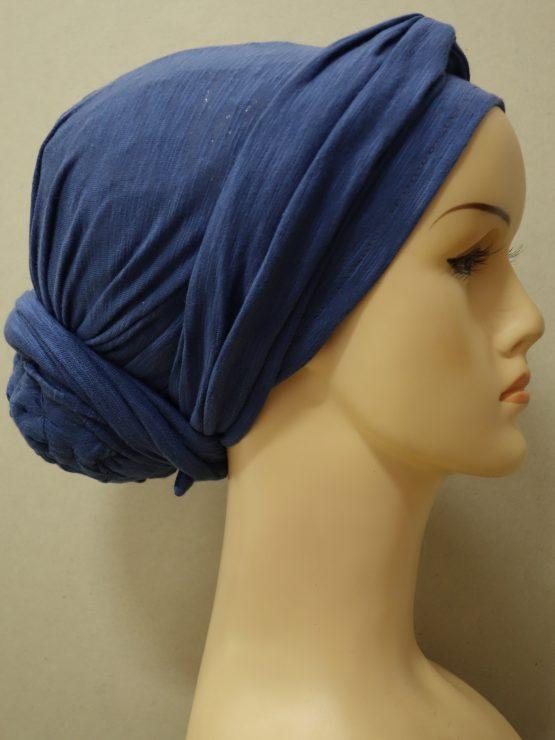 Niebieski melanż turban