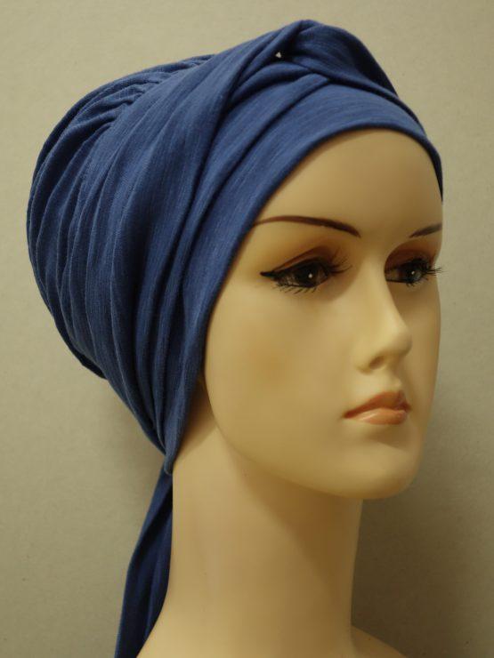 Niebieski melanż chusta modny wzór