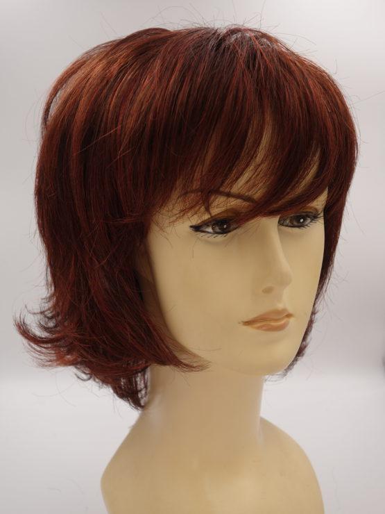 Krótka peruka ruda z pasemkami wycieniowana
