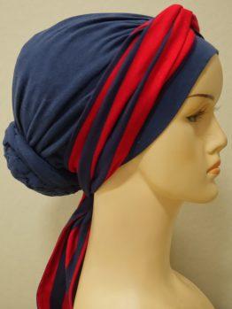 Granatowy turban drapowany z dekoracją w paski