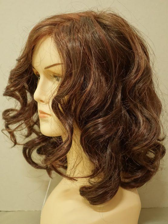 Półdługa peruka brąz - kręcona