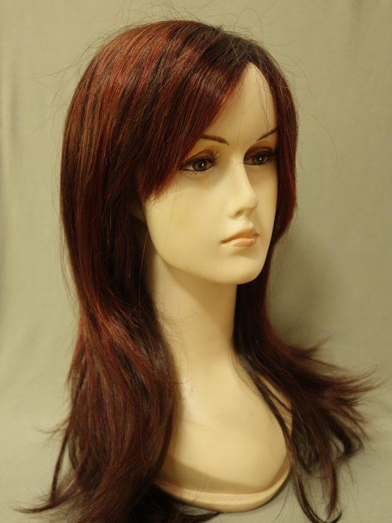 Długa peruka ruda z refleksami