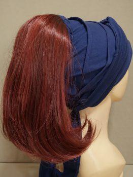 Włosy półdługie rude na opasce w kolorze granatowym
