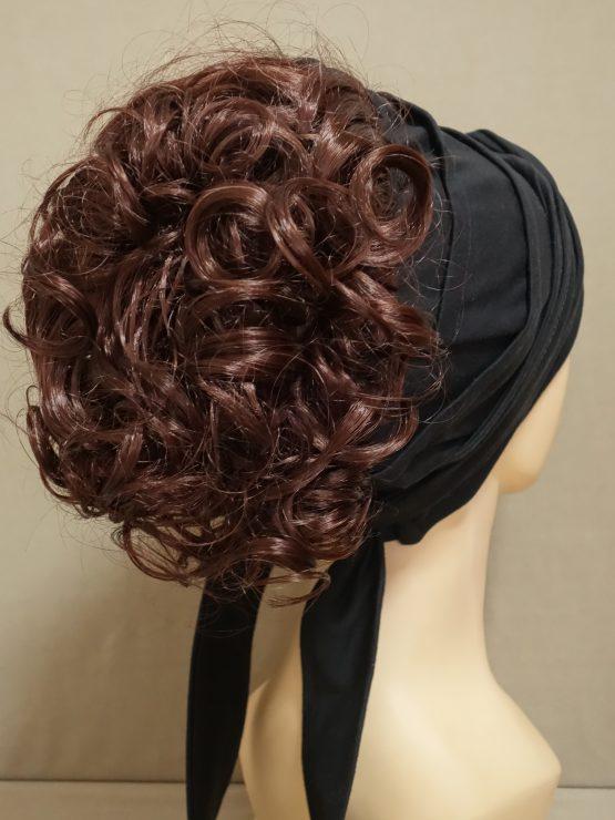Włosy kręcone rude na opasce w kolorze czarnym