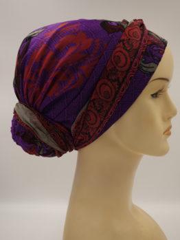 Fioletowo - czerwony jedwabny turban z dekoracją