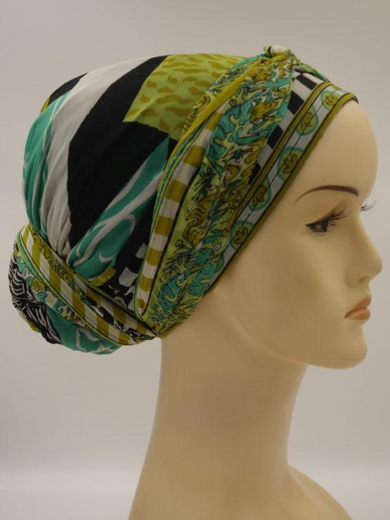 Zielono - czarny jedwabny turban z dekoracją