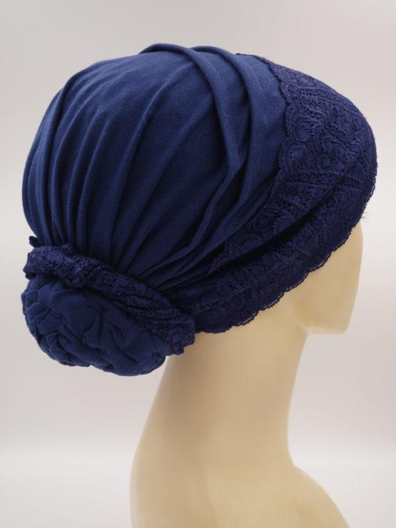 Granatowy turban z koronką