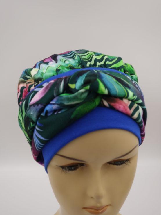 Chusta - modny wzór - w kolorowe liście, z opaską