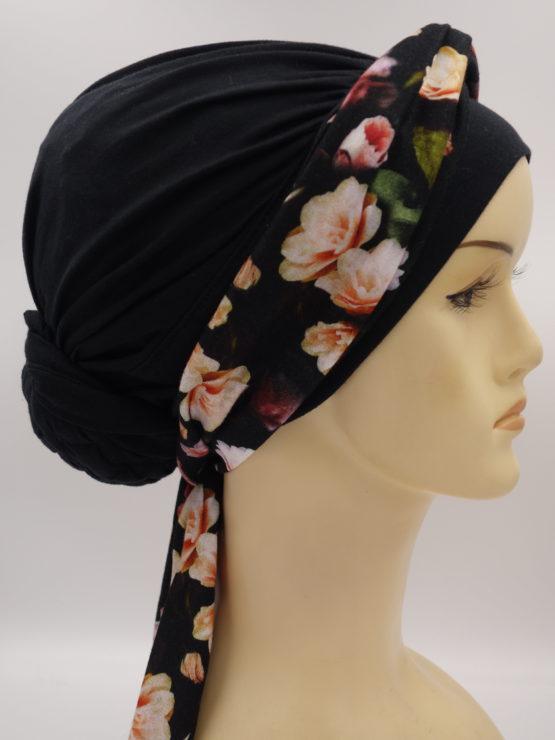 Czarny turban w kwiaty, drapowany, z plecioną dekoracją
