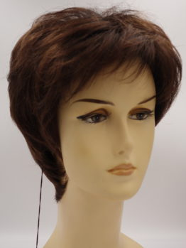 Krótka peruka w kolorze kasztanowym.