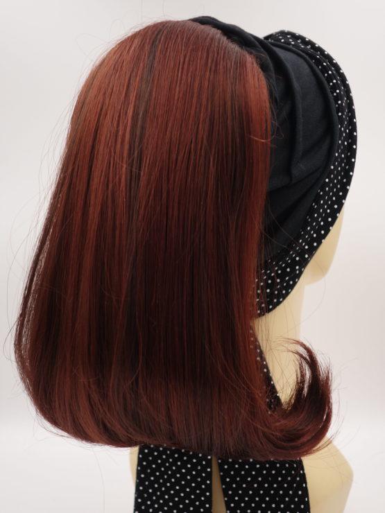 Włosy na opasce - ciemny rudy, długie, proste