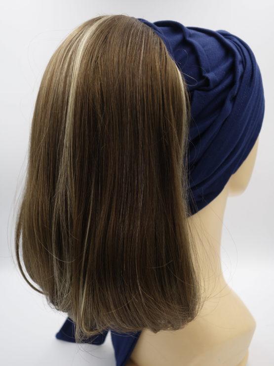 Włosy na opasce - brąz z pasemkami, półdługie, proste