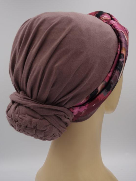 Wrzosowy turban z dekoracją