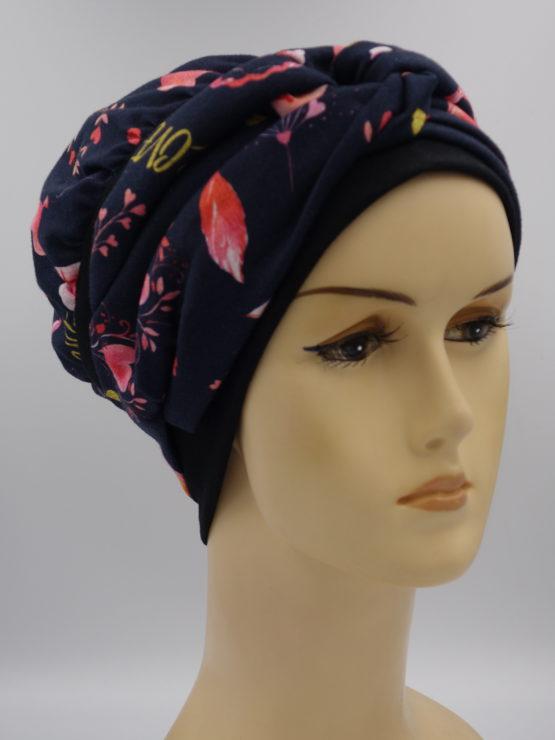 Granatowo-czarna modna czapka z dekoracją