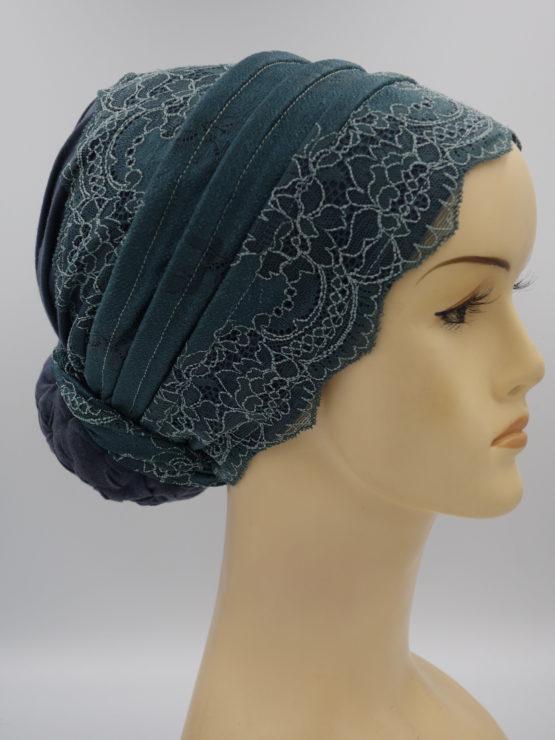 Grafitowy turban z koronką