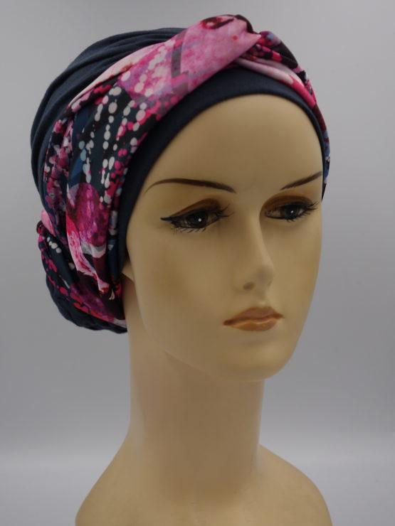 Grafitowy turban z dekoracją