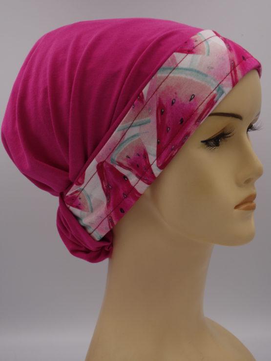 Różowa chusta z kolorowym rantem