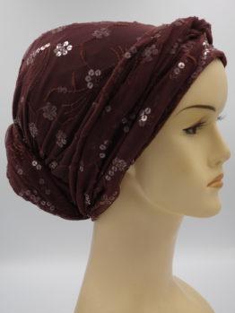 Czekoladowy turban z cekinami